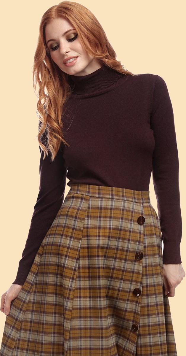 Vintage 50s Style Fashion - Tutle Neck - Brown