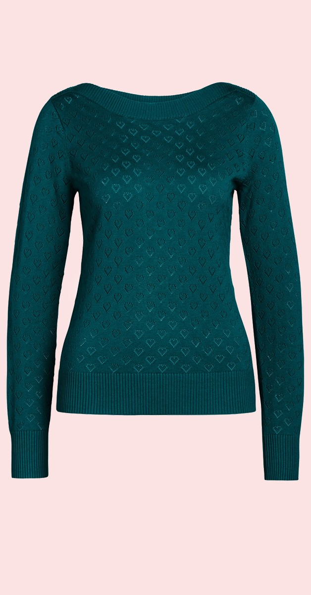 Vintage Style Fashion- Top Audrey Top Heart Ajour Dragonfly Green