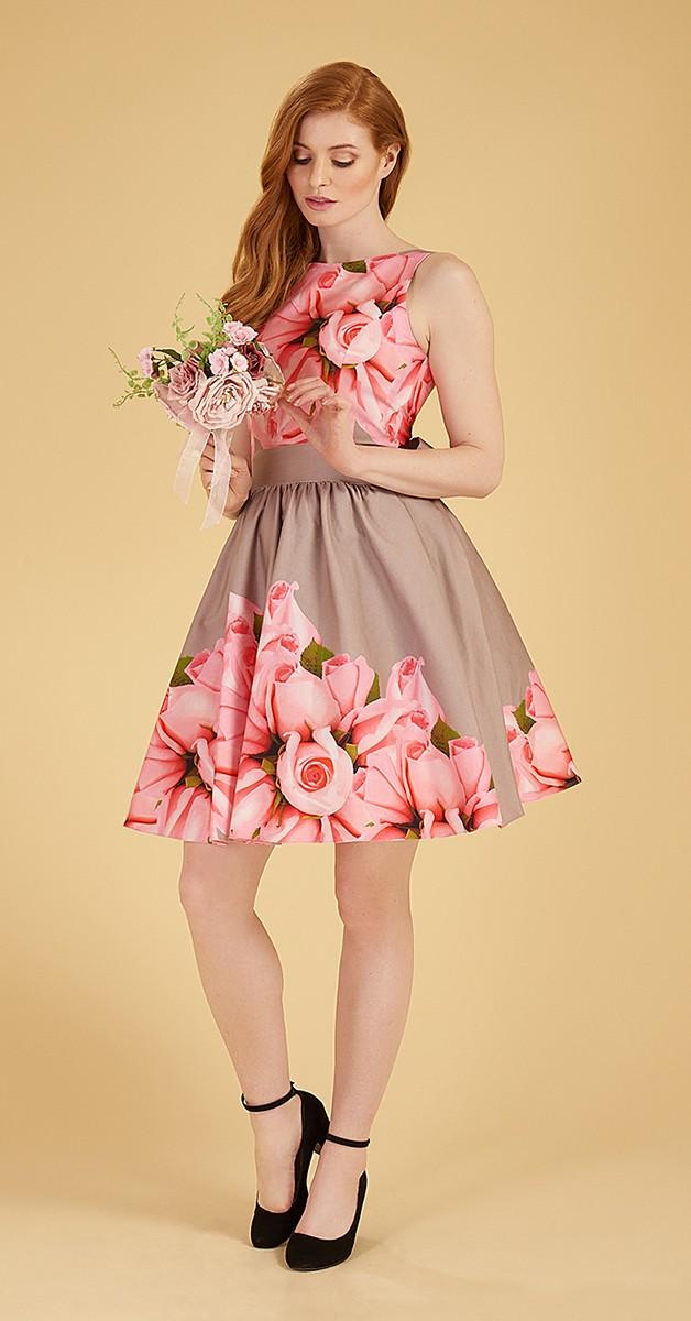 50's Style Swing Dress - Rose Tea Dress