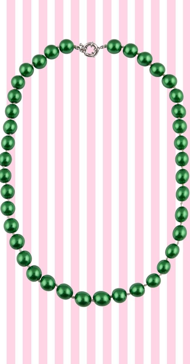 Retro Stil Kette - Dainty Pearl Necklace - Grün