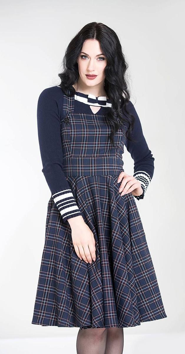 Vintage Style Fashion -  Peeples Pinafore Dress - Navy
