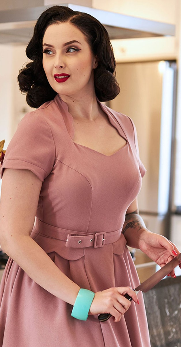 Vintage Swing Dress - Adrienne Day Dress - Old Rose