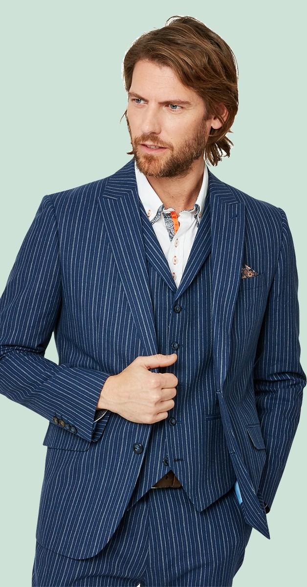 Vintage Fashion - Jacket - Superb Stripe Blazer - Blue Striped