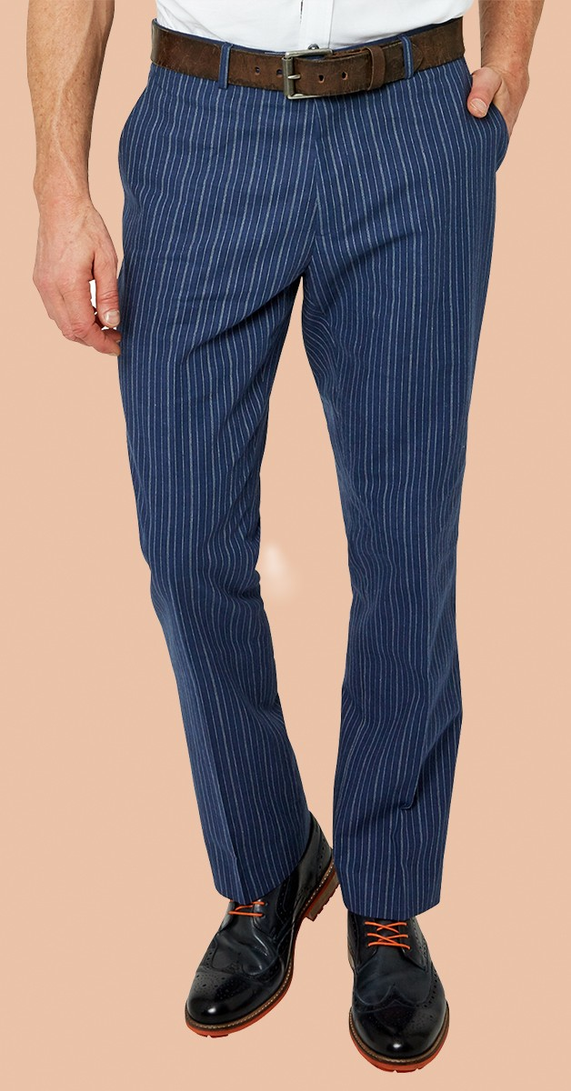 Vintage Fashion - Superb Stripe Trousers - Blue Striped