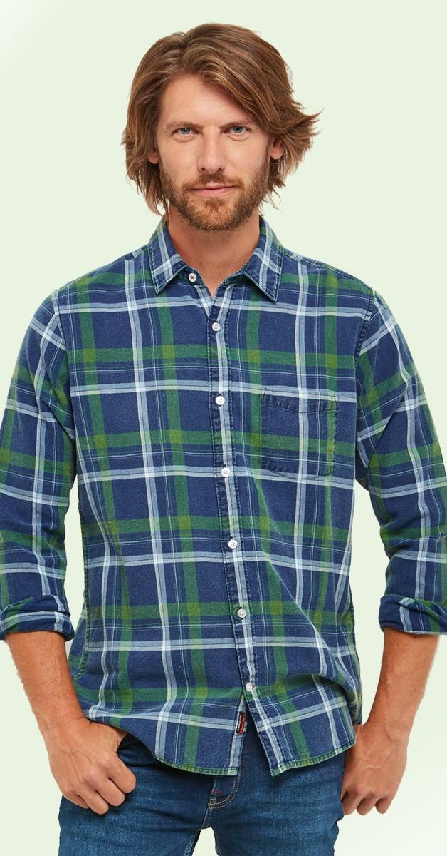 Vintage Retro Shirt - Easy Life Check Shirt - Blue