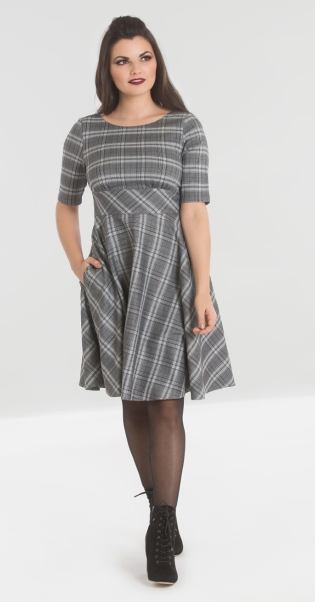 Vintage Stil Kleid - Frostine Mid Dress - Grau Kariert