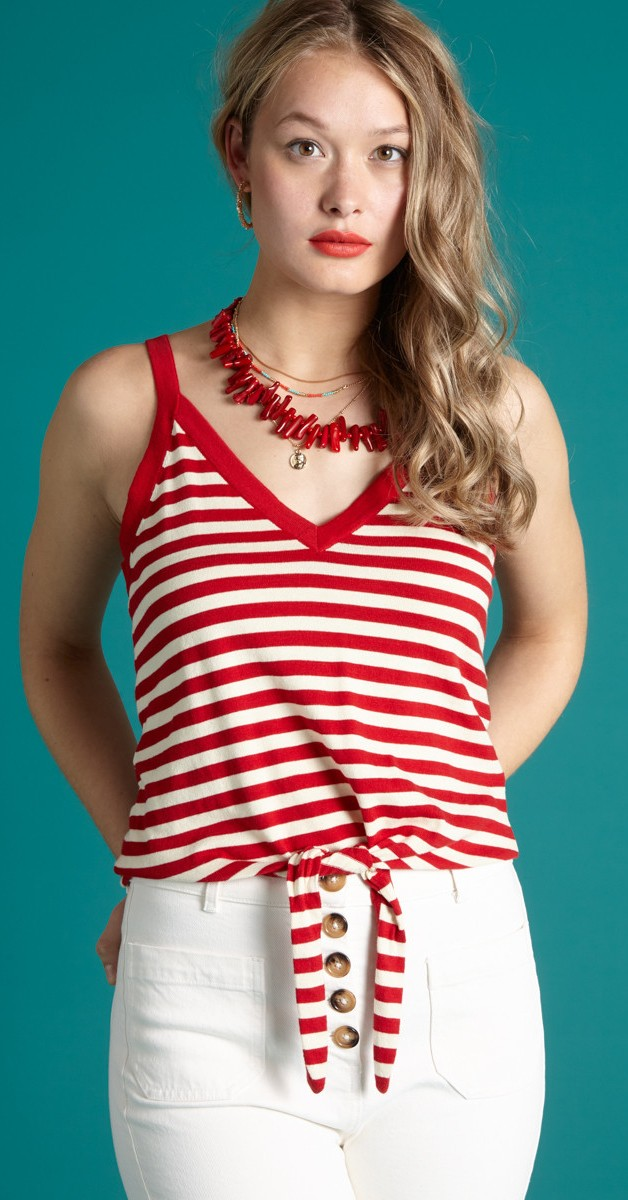 Retro Style Clothing - Top Isa Knot Camisole Classic Stripe