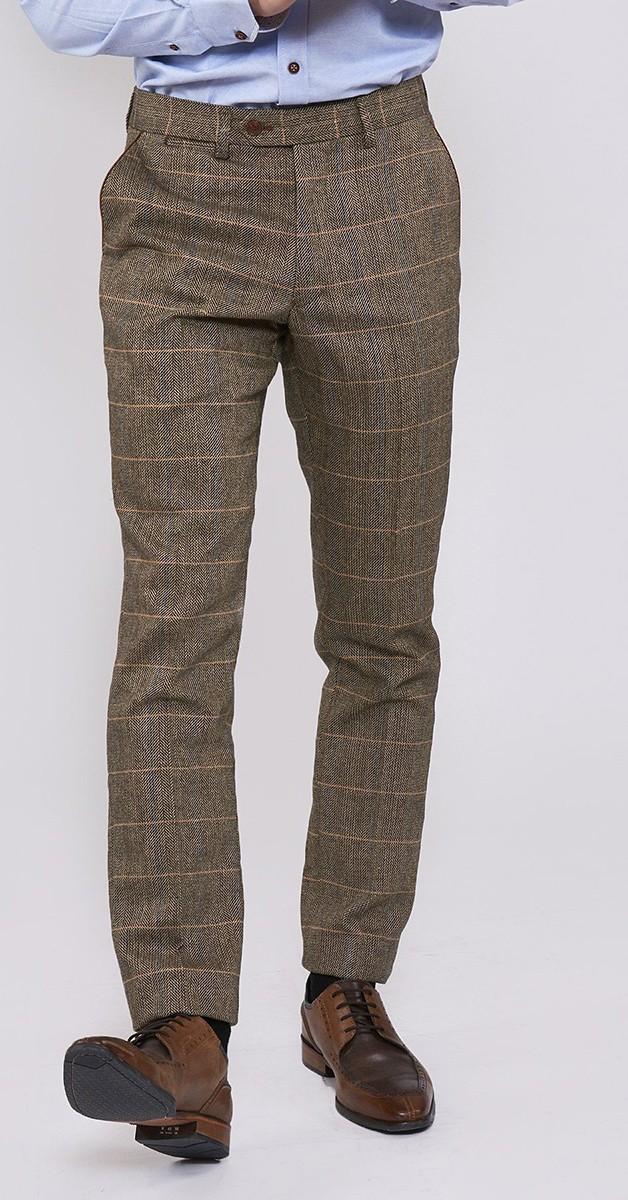 Vintage Fashion - Tan Tweed Trouser With Tonal Check