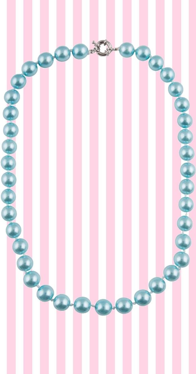 Retro Stil Kette - Dainty Pearl Necklace - Blau