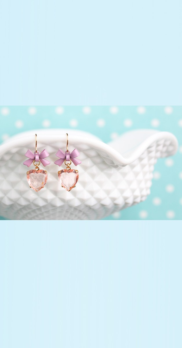 Vintage Jewelry - Peach Heart Drop Earrings With Bow - Rose/Lilac