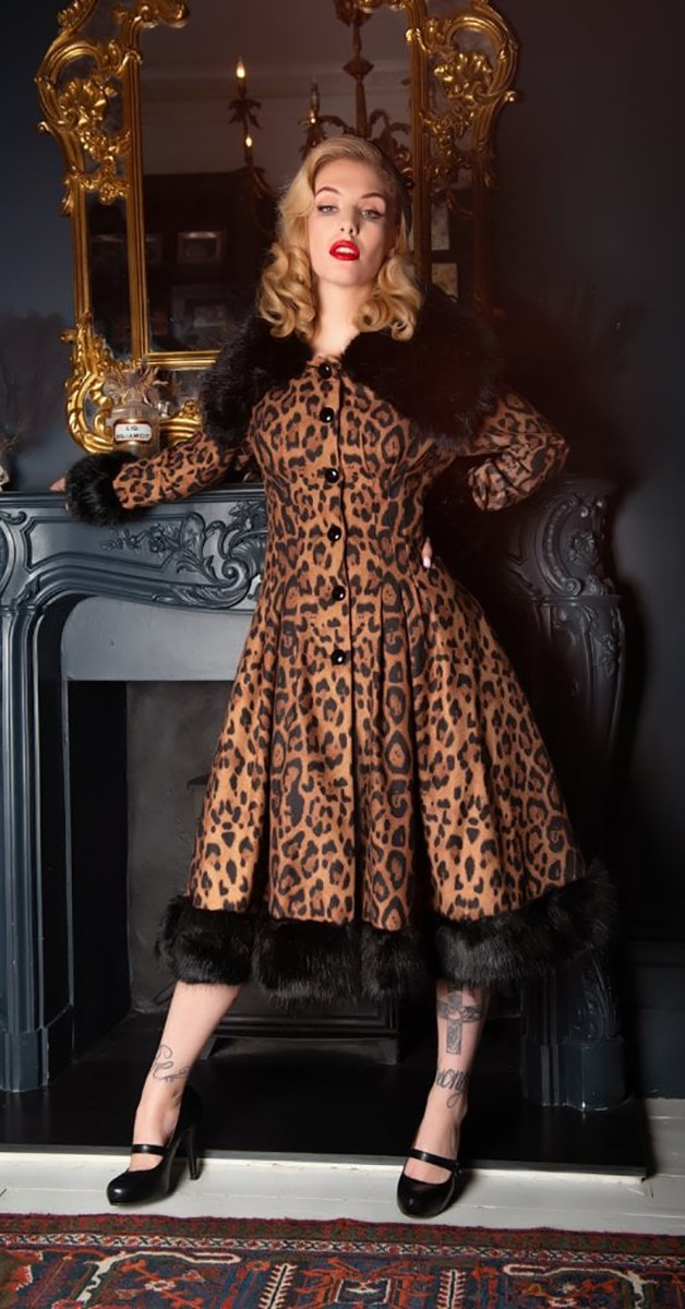Vintage Style Fashion - Pearl Leopard Print Coat