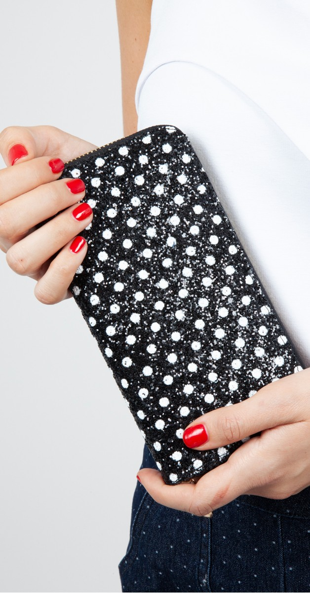 Vintage Accessoires - Dotty Glitter Polka Dot Brieftasche