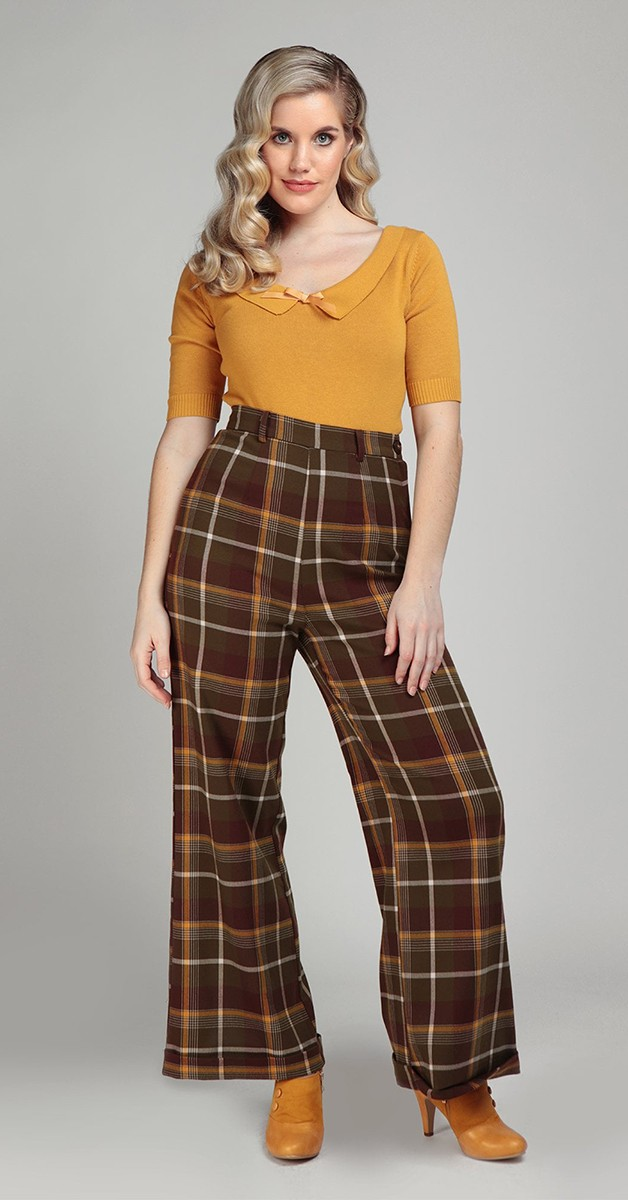 Vintage Fashion - Vintage Mode - Baylee Mosshill Check Trouses - Brown