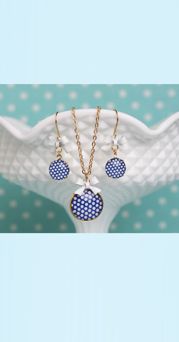 Vintage Jewelry Set Polka Dot – Necklace And Earrings - Blue/White