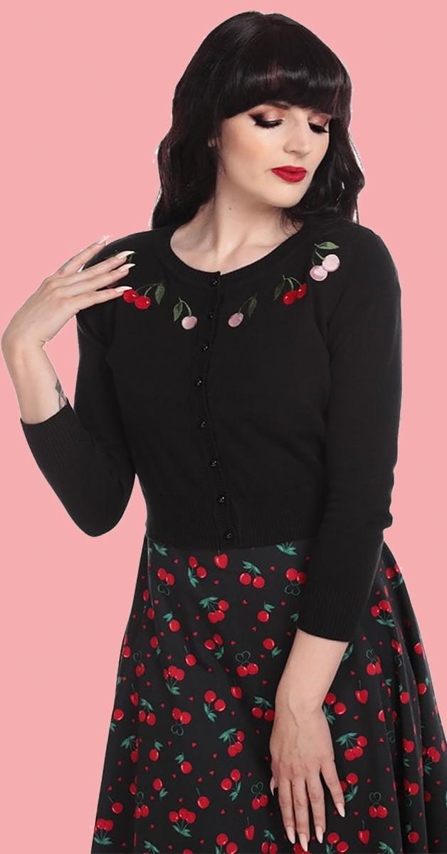 Vintage Kleidung - Weste - Jessie Charming Cherry Cardigan - Schwarz
