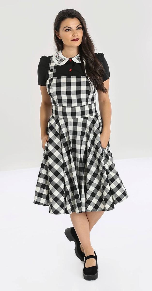 Vintage Stil Kleid - Victorine Pinafore Dress - Schwarz/Weiß