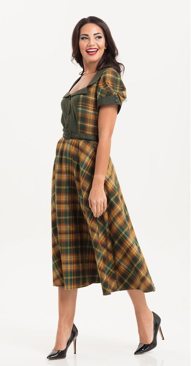 Vintage Stil Swing Kleid - 40s Ella Swing Dress in Green Tartan