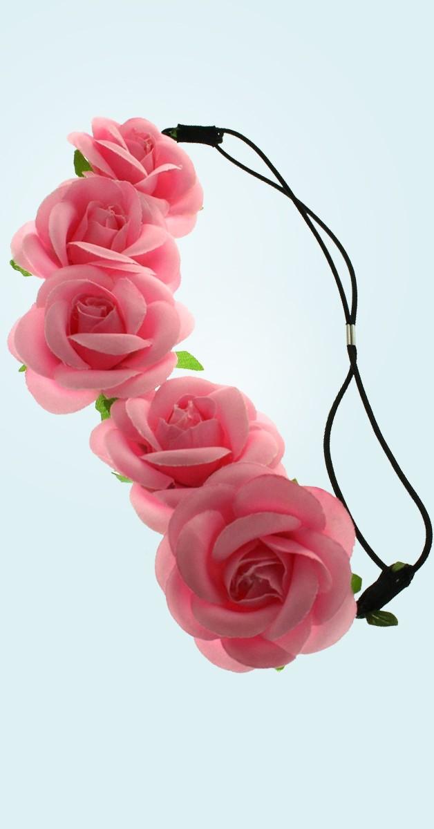 Vintage Accessories - Rose Flower Headband - Pink