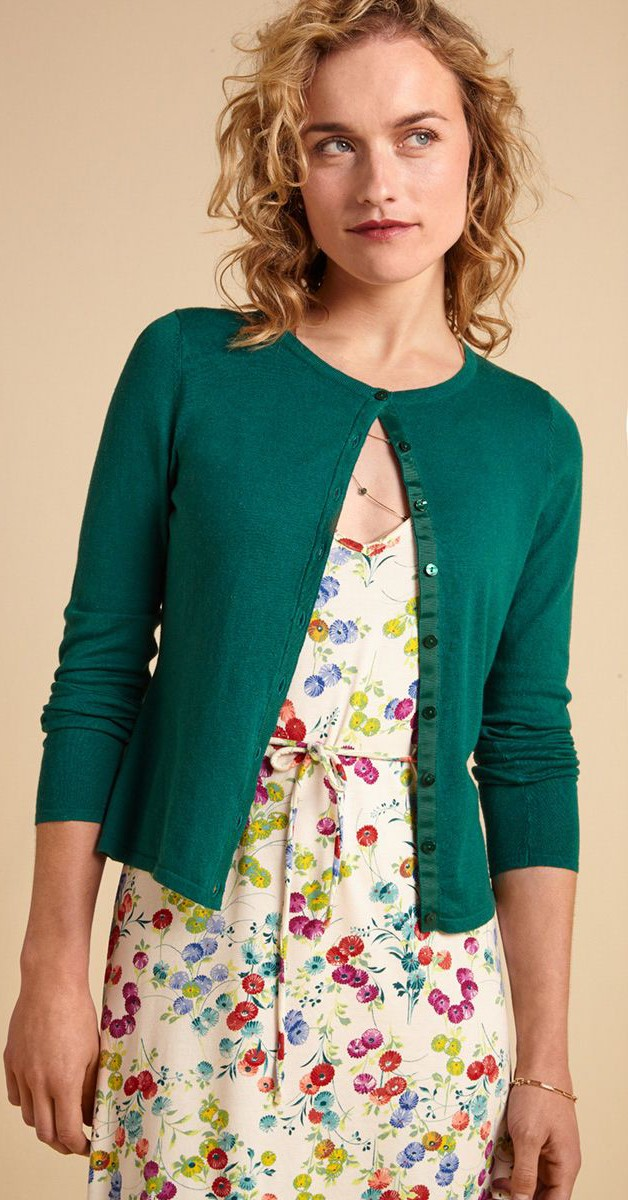 Vintage Clothing -Cardi Roundneck - Cocoon - Para Green