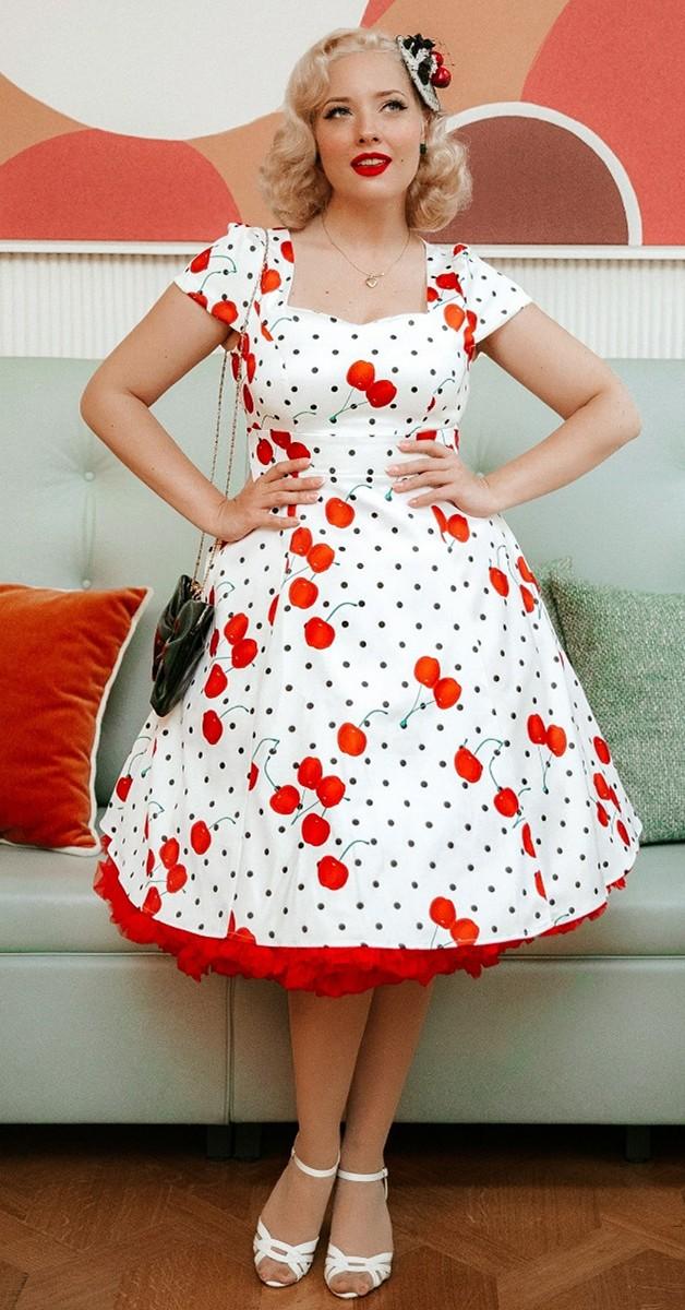 Vintage Style Fashion - Claudia Cherry & Polka Dot Swing Dress
