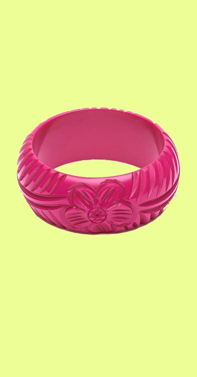 Vintage Accessories - Wide Iris Pink heavy Carve Fakelite Bangle