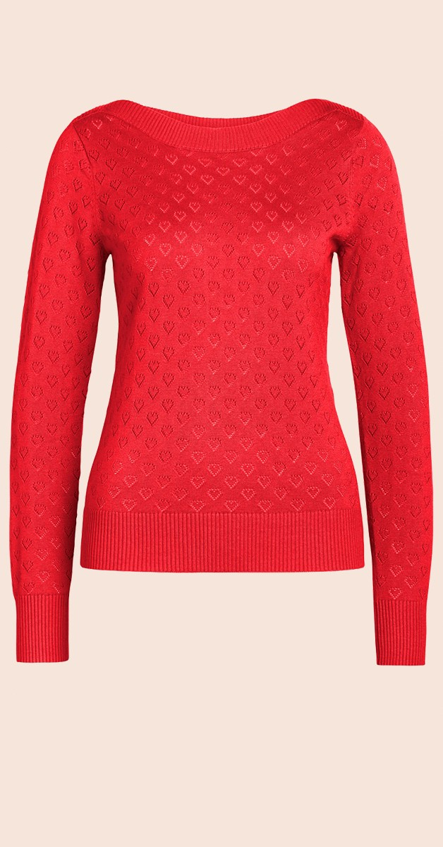 Vintage Style Fashion- Top Audrey Top Heart Ajour Dragonfly Red