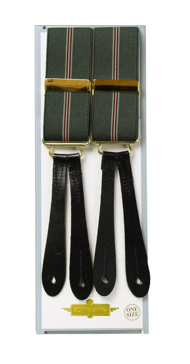 Vintage Retro Accessoires - Hosenträger - Olivgrün/Gestreift