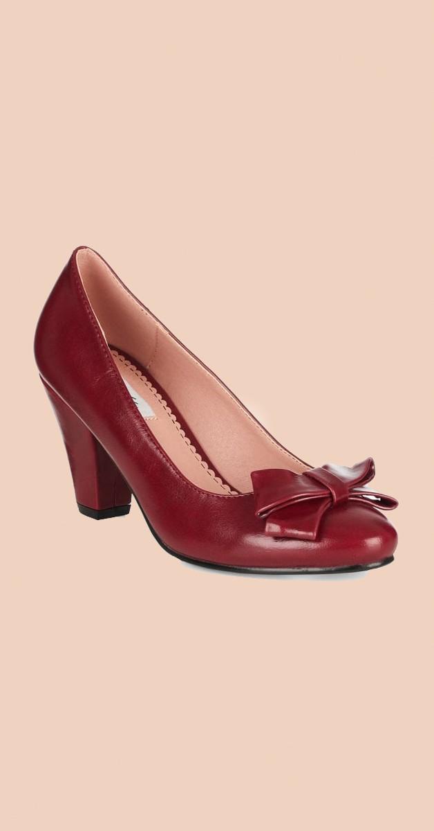 Vintage Stil Schuhe - Tracey High Heel - Weinrot