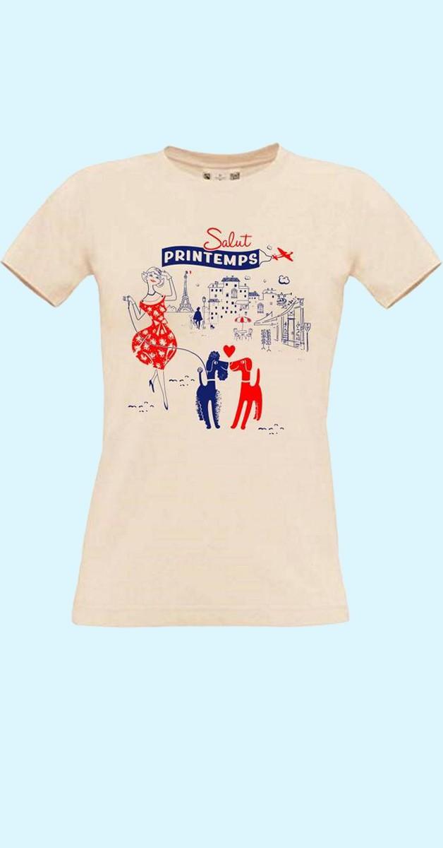 Vintage-Style T-shirt - Paris Motiv - Salut printemps