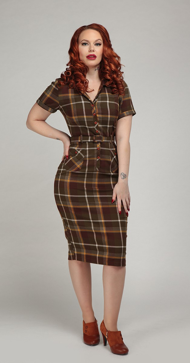 Vintage Dress - Mainline Caterina Mosshill Check Pencil Dress