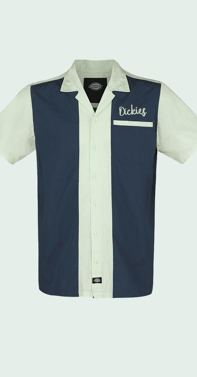 Dickies Shirt - Rockabilly Fashion - Pulaski Short Sleeve Revere Shirt - Navy