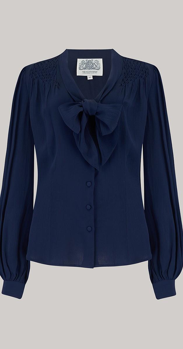 Vintage 50s Style Fashion - 40's Eva Blouse - Navy