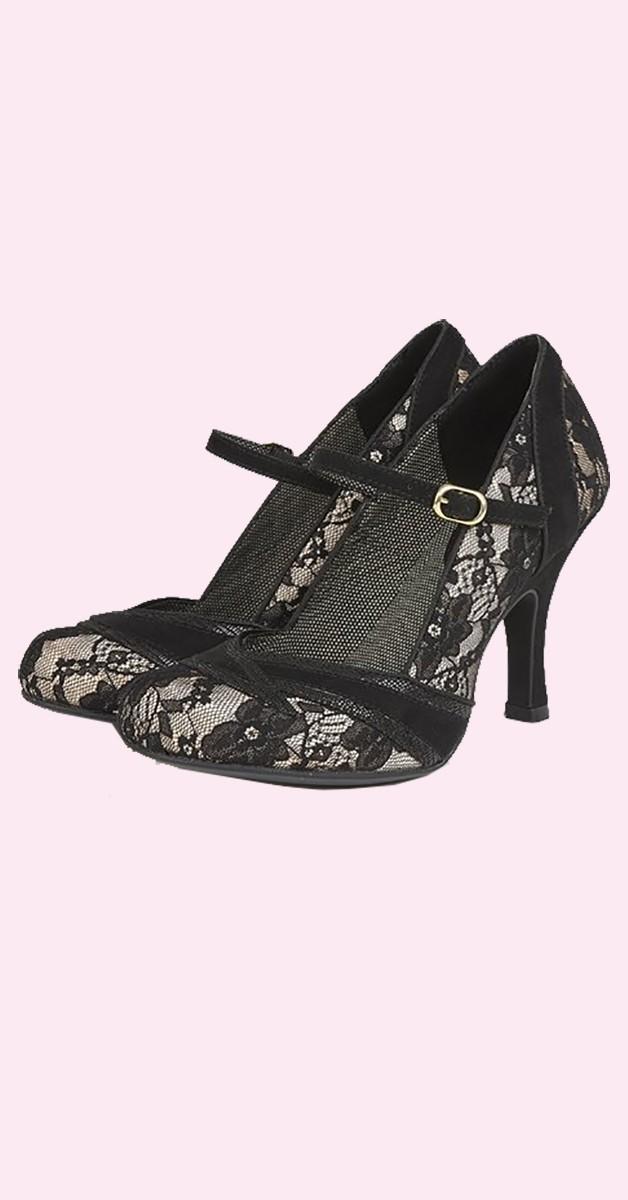 Vintage  Shoes  – Vintage Lace Shoes -  Pumps - Delilah - Black