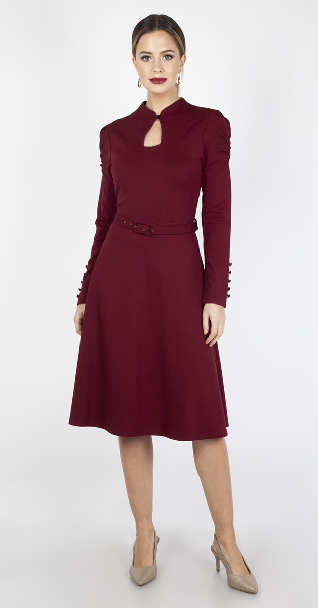 Vintage Stil Swing Dress -  Dita- Burgundy