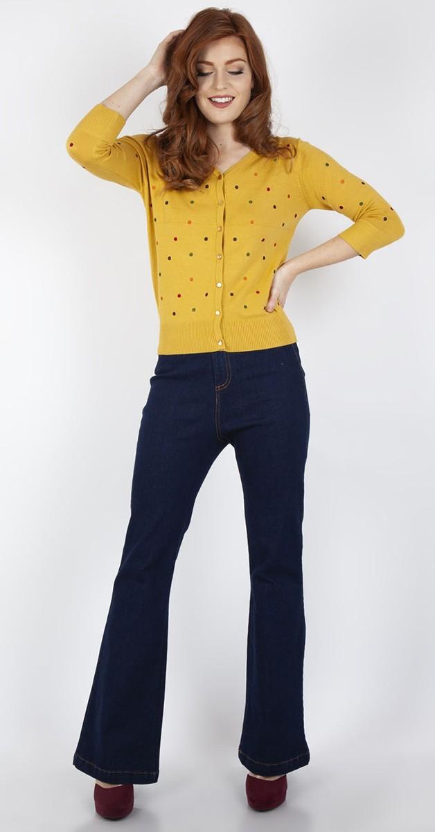 Vintage Clothing - 50s Diana Polkadot Cardigen - Mustard