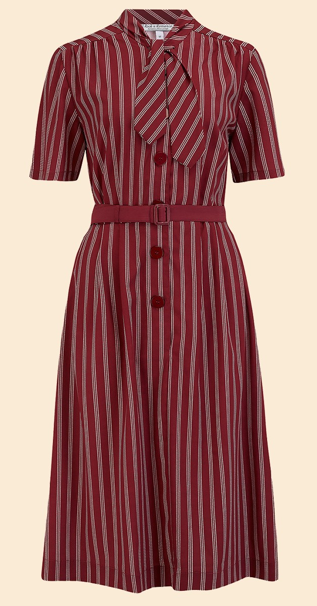 RocknRomance Vintage Style Dress - Casidy - Dotty Stripe - Maroon/White