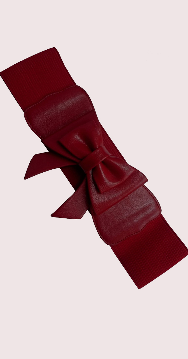 Pin Up Accessoires - Play it Right Bow Gürtel - Burgundy