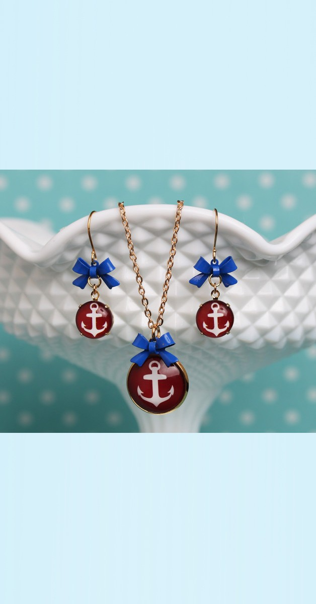 Vintage Jewelry Set Anchor – Necklace And Earrings - Bordeaux/White