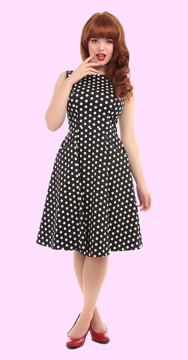Collectif Mainline Hepburn Polka Dot Doll Kleid