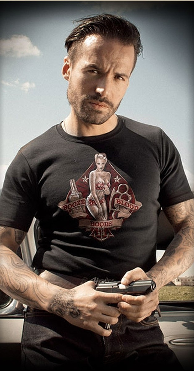 Rockabilly - T-Shirt - Boobs Booze Blood - Black