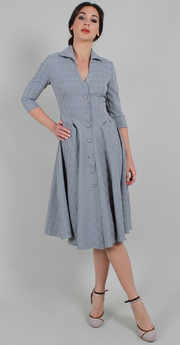 Vintage Stil Swing Kleid - Barbara V Neck Check 50s Swing Dress - Grau