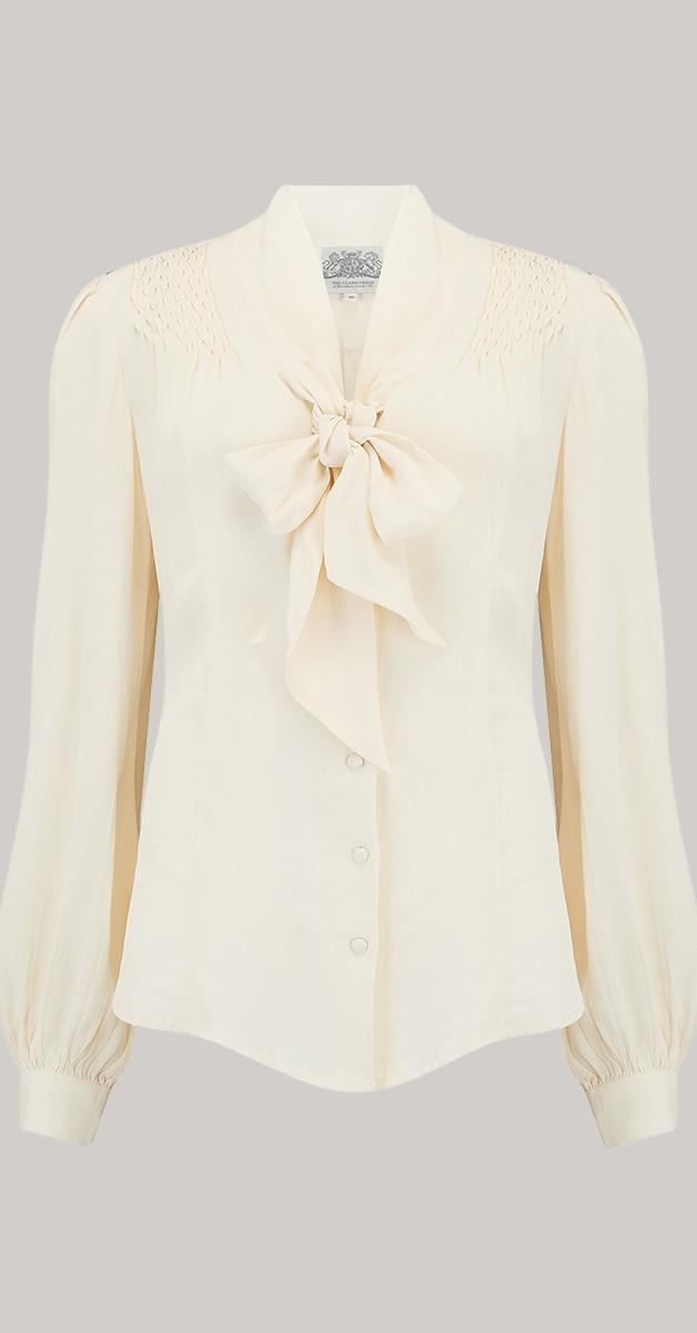 Vintage 50s Style Fashion - 40's Eva Blouse - Cream