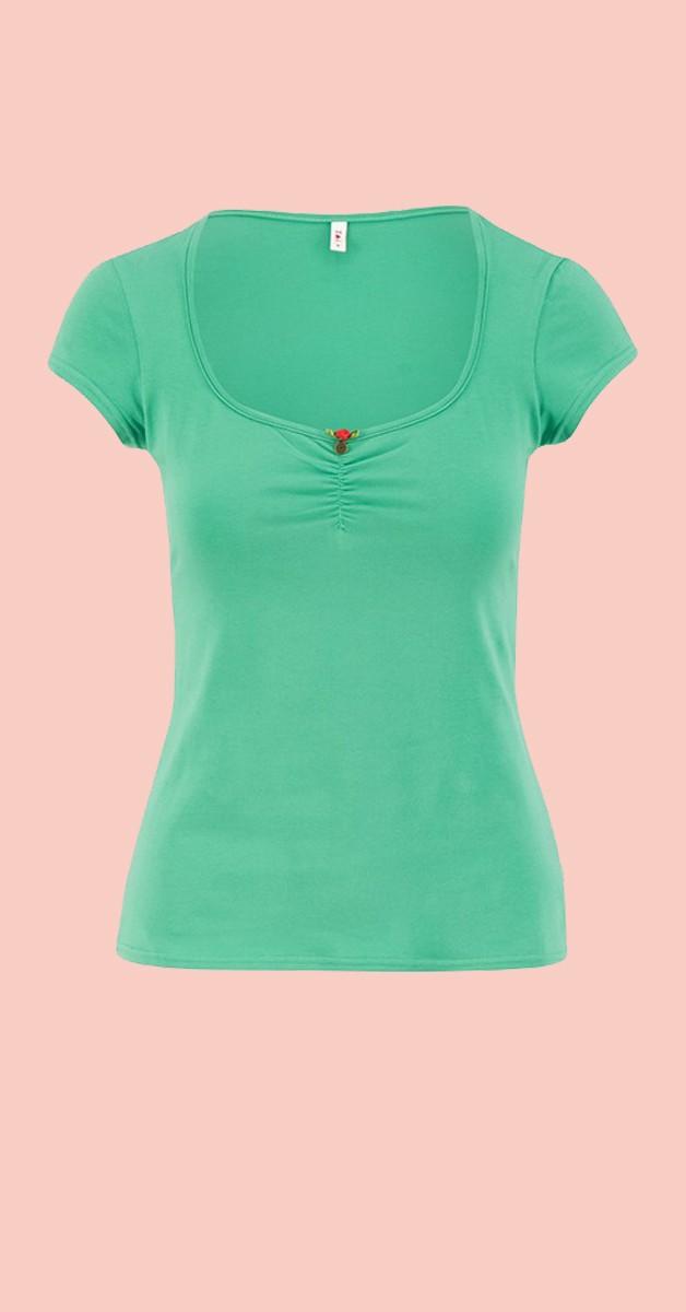 Vintage 50s Style Fashion - Logo Shortsleeve Feminine - Green