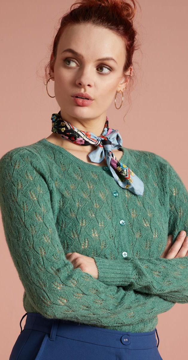 Vintage Clothing -Cardi Roundneck - Vallina  Fir Green