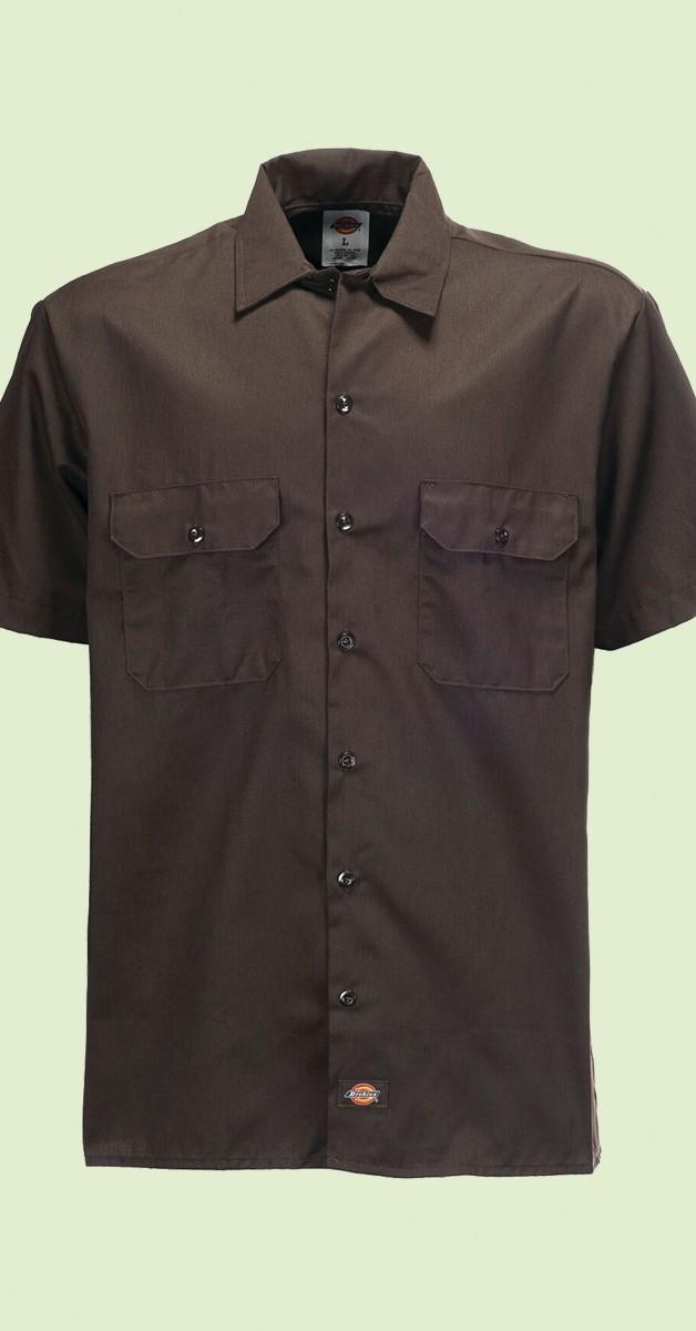 Dickies Shirt - Rockabilly Fashion - Short Sleeve Work Shirt - Dark Brown