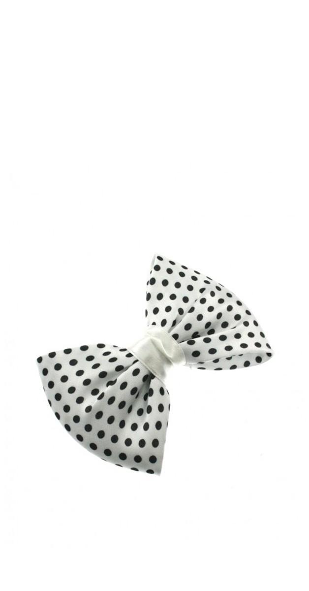 Vintage Accessories - Double Satin Bow - White/Black Polka Dot