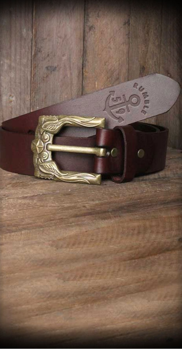 Rockabilly Accessories - Leather Belt With Swallow Buckle - Russet