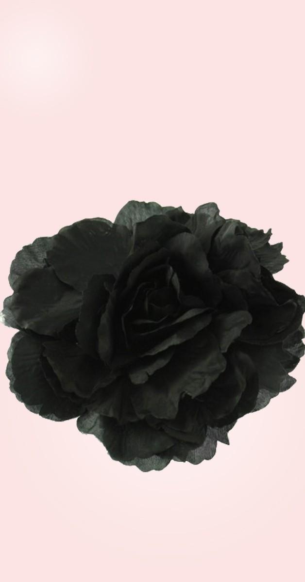 Vintage Accessories - Pin Up Hair Clip / Brooch Rose Big - Black