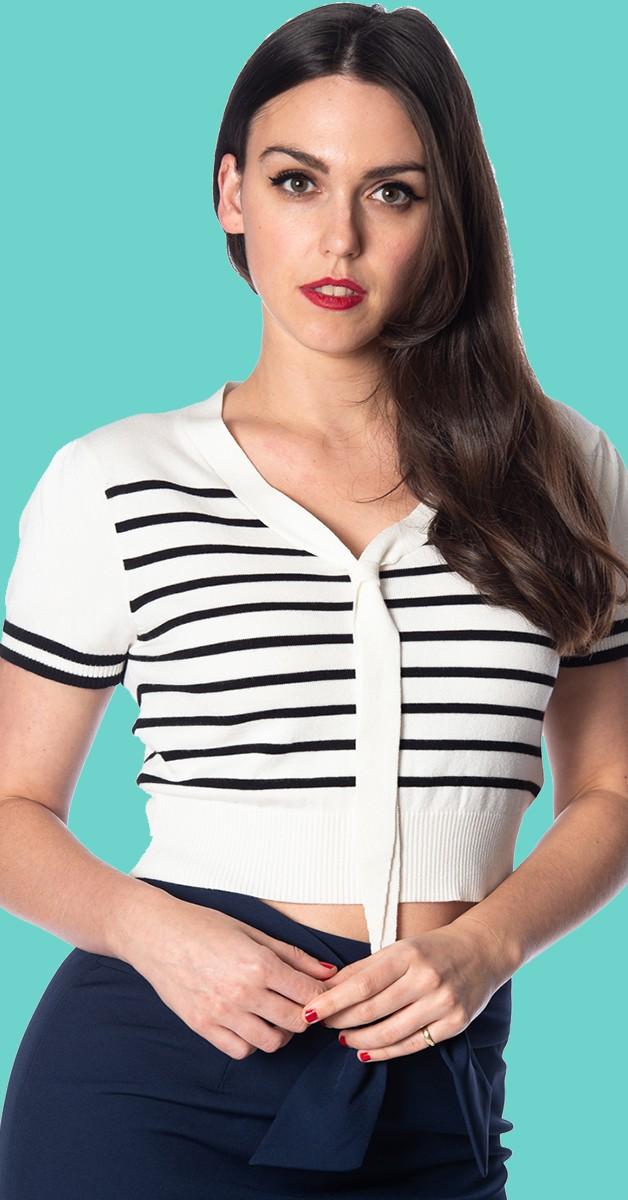 Vintage Stil Bekleidung - Sailor Stripe Tie Top - Weiß