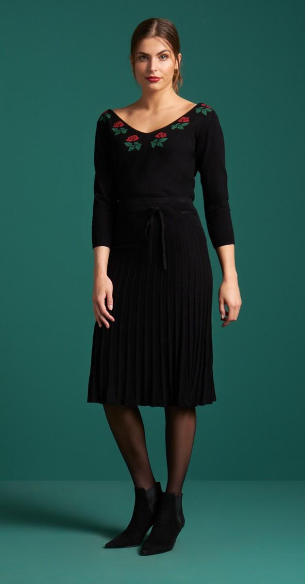 Vintage Fashion - Knit Plisse Skirt Parton